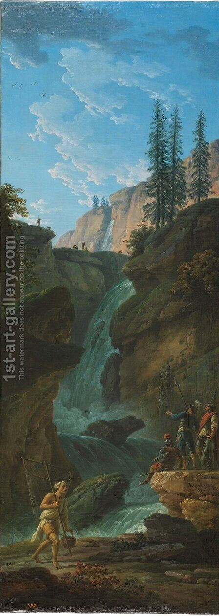 Landscape with a waterfall by Claude-joseph Vernet - Reproduction Oil Painting