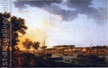Second sight of the port of Bayonne, taking the driveway of Boufflers by Claude-joseph Vernet - Reproduction Oil Painting
