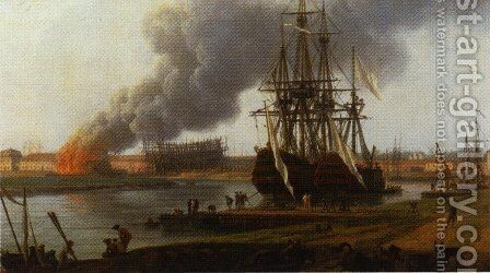 Second sight of the port of Bordeaux, detail by Claude-joseph Vernet - Reproduction Oil Painting