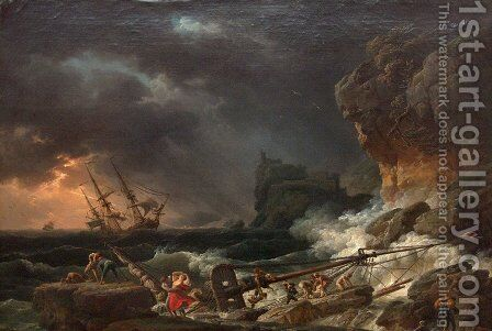 Storm on Wednesday with wrecks of ships by Claude-joseph Vernet - Reproduction Oil Painting