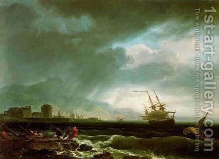 Stormy sea by Claude-joseph Vernet - Reproduction Oil Painting