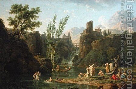The morning, the bathers by Claude-joseph Vernet - Reproduction Oil Painting