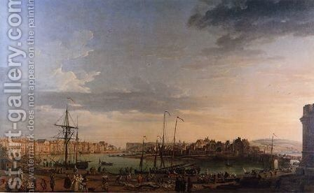 View from the port of Dieppe by Claude-joseph Vernet - Reproduction Oil Painting
