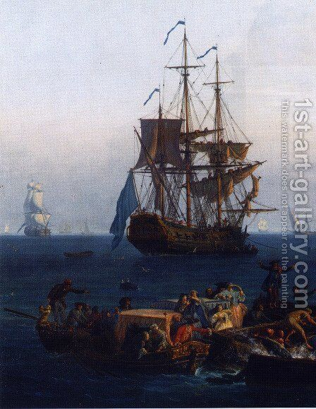 View of the Gulf of Bandol, tuna (detail) by Claude-joseph Vernet - Reproduction Oil Painting