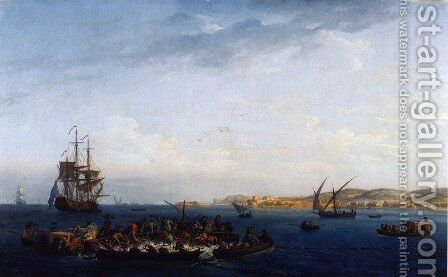 View of the Gulf of Bandol, tuna by Claude-joseph Vernet - Reproduction Oil Painting
