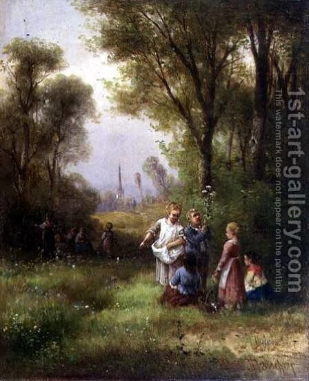 Playing in the Woods by Anton Doll - Reproduction Oil Painting