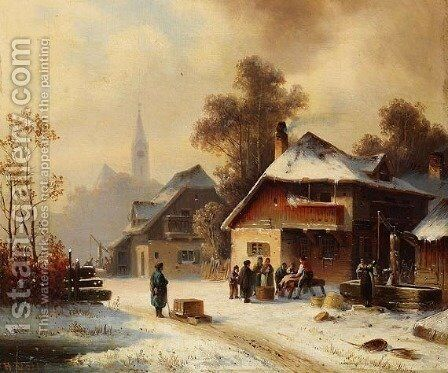 Village scene in winter by Anton Doll - Reproduction Oil Painting
