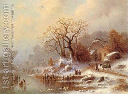 Winter bustle in a village in Voralpenland by Anton Doll - Reproduction Oil Painting