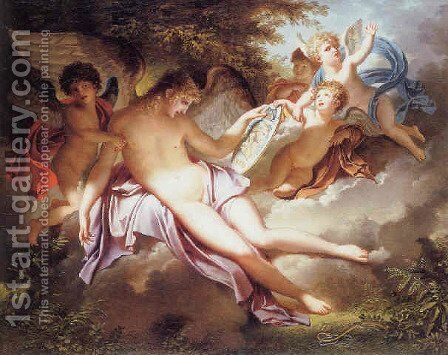 Adolescent Cupid weeping over the portrait of Psyche whom he has lost by Charles Meynier - Reproduction Oil Painting