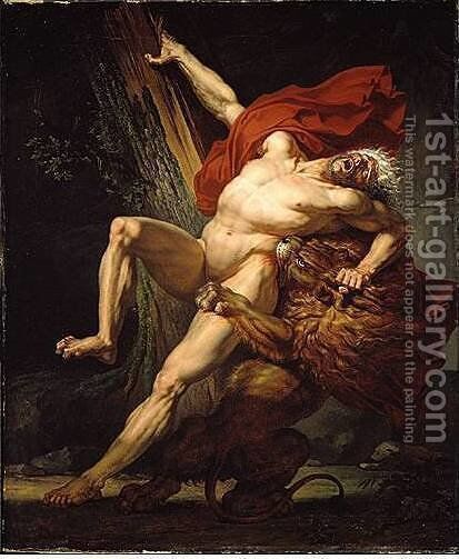 Milon of Croton by Charles Meynier - Reproduction Oil Painting