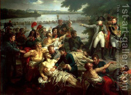 The emperor visit the soldiers after the battle of Esslingen by Charles Meynier - Reproduction Oil Painting