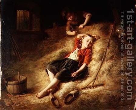 Tickling the Sleeper by Theodore Gerard - Reproduction Oil Painting