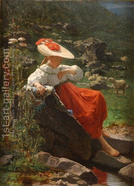 Young Girl in a Landscape by Theodore Gerard - Reproduction Oil Painting