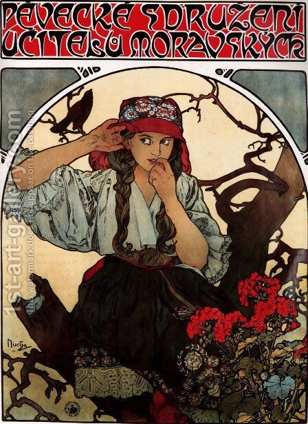Moravian Teachers' Choir by Alphonse Maria Mucha - Reproduction Oil Painting