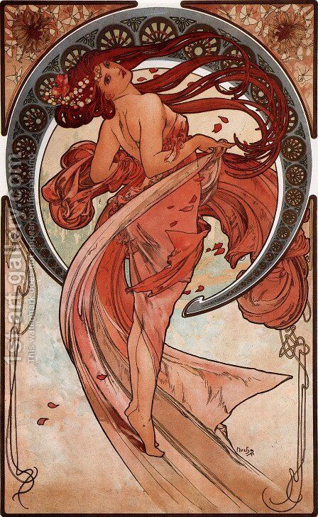 The Arts, Dance by Alphonse Maria Mucha - Reproduction Oil Painting