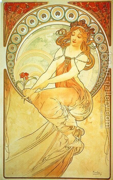 The Arts, Painting by Alphonse Maria Mucha - Reproduction Oil Painting