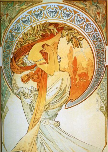 The Arts, Poetry by Alphonse Maria Mucha - Reproduction Oil Painting