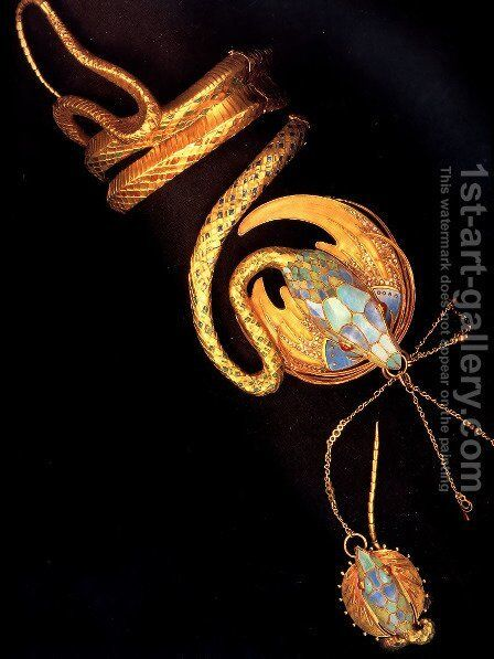 Serpentine Bracelet With Ring by Alphonse Maria Mucha - Reproduction Oil Painting