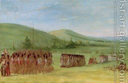 Ball-Play Dance by George Catlin - Reproduction Oil Painting