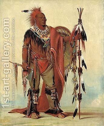 Kee-o-kúk, The Watchful Fox, Chief of the Tribe by George Catlin - Reproduction Oil Painting
