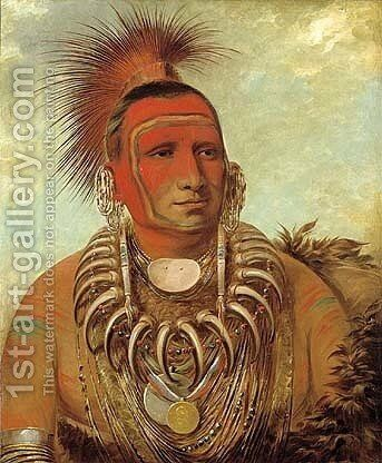 Shon-ta-yi-ga, Little Wolf, a Famous Warrior by George Catlin - Reproduction Oil Painting