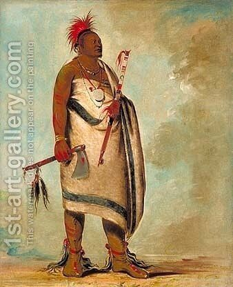 Shonka Sabe (Black Dog). Chief of the Hunkah division of the Osage tribe by George Catlin - Reproduction Oil Painting