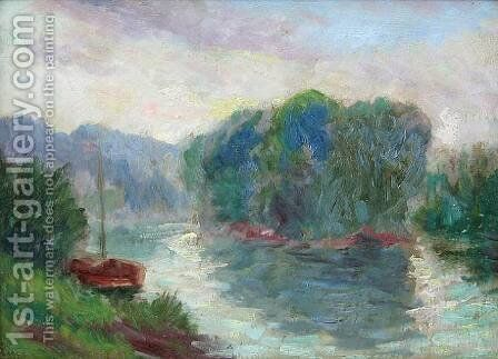 A River Landscape by Maximilien Luce - Reproduction Oil Painting