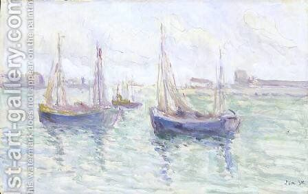 Boats in port by Maximilien Luce - Reproduction Oil Painting