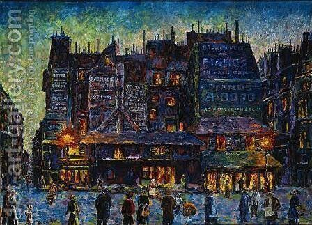Paris, Animated Street in the Evening by Maximilien Luce - Reproduction Oil Painting