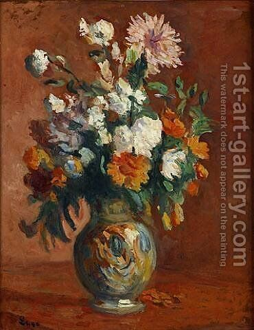 Red Flowers in a Vase by Maximilien Luce - Reproduction Oil Painting