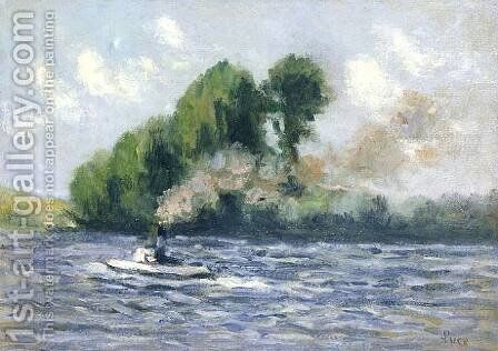 Rolleboise, Remorqueur sur la Seine by Maximilien Luce - Reproduction Oil Painting