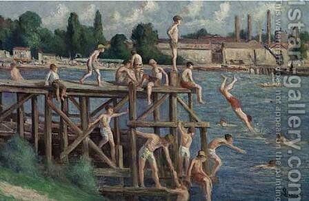 The Swimming by Maximilien Luce - Reproduction Oil Painting