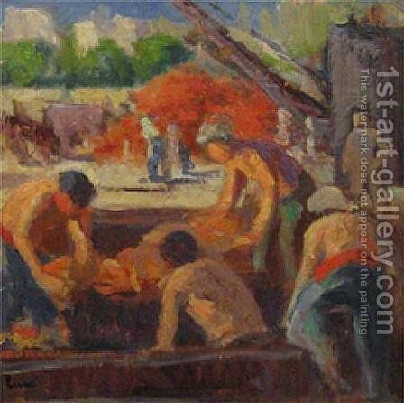 Workers Loading a barge by Maximilien Luce - Reproduction Oil Painting