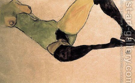 A woman nude body by Egon Schiele - Reproduction Oil Painting