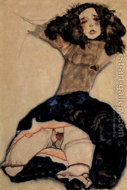 Black-haired girl with high skirt by Egon Schiele - Reproduction Oil Painting
