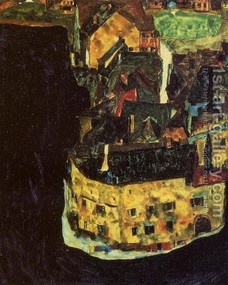 City on the Blue River II by Egon Schiele - Reproduction Oil Painting