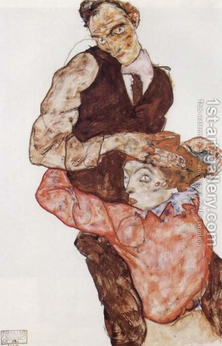 Courting couple 2 by Egon Schiele - Reproduction Oil Painting