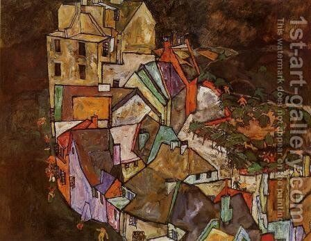Edge of Town (Krumau Town Crescent III) by Egon Schiele - Reproduction Oil Painting