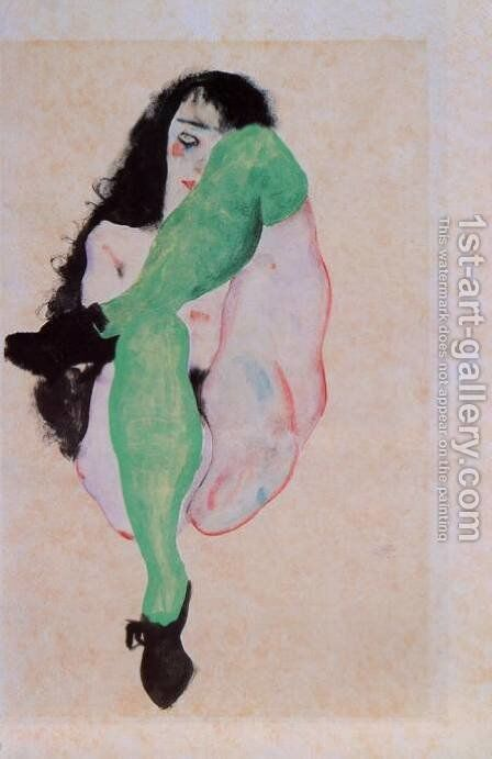 Girl with Green Stockings by Egon Schiele - Reproduction Oil Painting