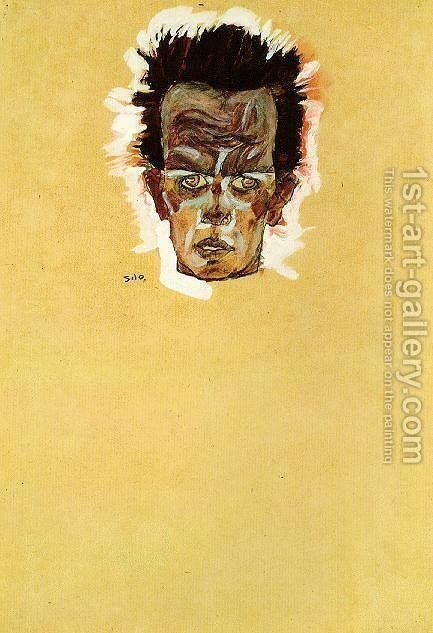 Head of a man by Egon Schiele - Reproduction Oil Painting
