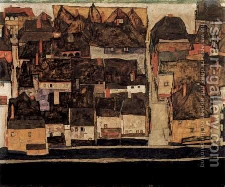 Krumau in Moldavia at Kleinstadt IV by Egon Schiele - Reproduction Oil Painting