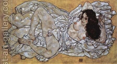 Lying woman by Egon Schiele - Reproduction Oil Painting