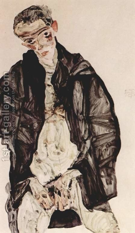 Masturbation 2 by Egon Schiele - Reproduction Oil Painting