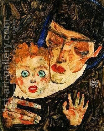 Mother and son by Egon Schiele - Reproduction Oil Painting
