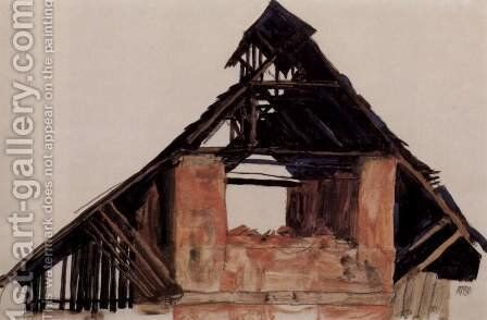 Old Gable by Egon Schiele - Reproduction Oil Painting