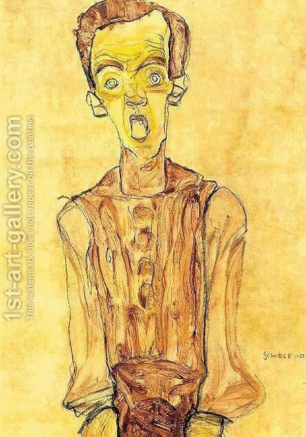 Portrait with an open mouth by Egon Schiele - Reproduction Oil Painting