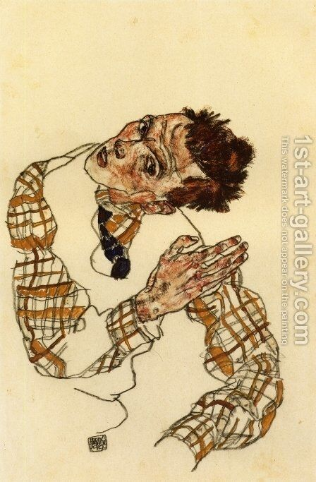 Self Portrait in Checkered Shirt by Egon Schiele - Reproduction Oil Painting