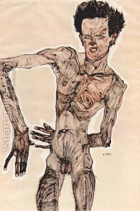 Self-portrait standing 1910 by Egon Schiele - Reproduction Oil Painting