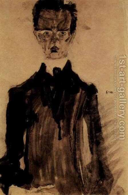 Selfportrait in the black garment by Egon Schiele - Reproduction Oil Painting