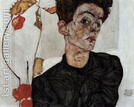 Selfportrait with Chinese lantern fruits by Egon Schiele - Reproduction Oil Painting